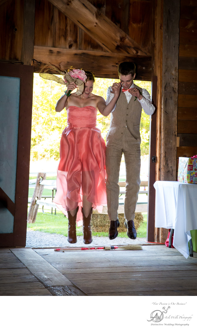 cooperstown ny wedding photographer broom jumping