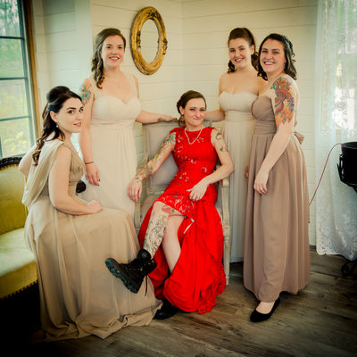 Albany NY weddings bride in red with bridesmaids