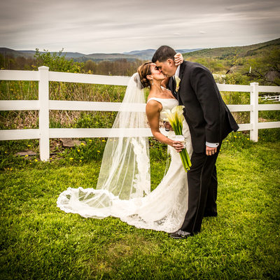Stone Tavern Farm Roxbury NY -  Wedding Day Kiss