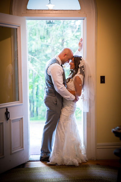 Roxbury NY wedding private moment bride and groom