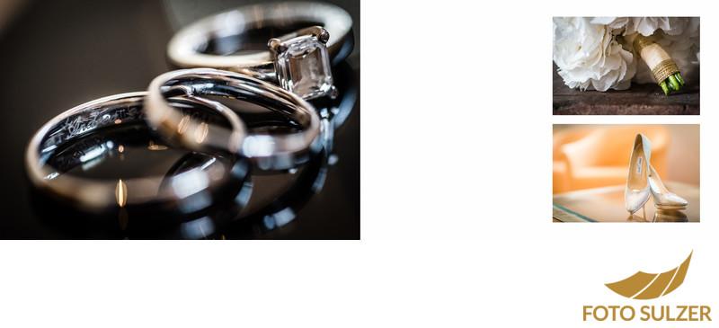Ring- und Detailfotos bei der Hochzeitsvorbereitung im Hotel die Gersbergalm