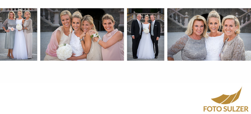 Kleine Gruppenfotos bei der Hochzeit im Schloss Hellbrunn
