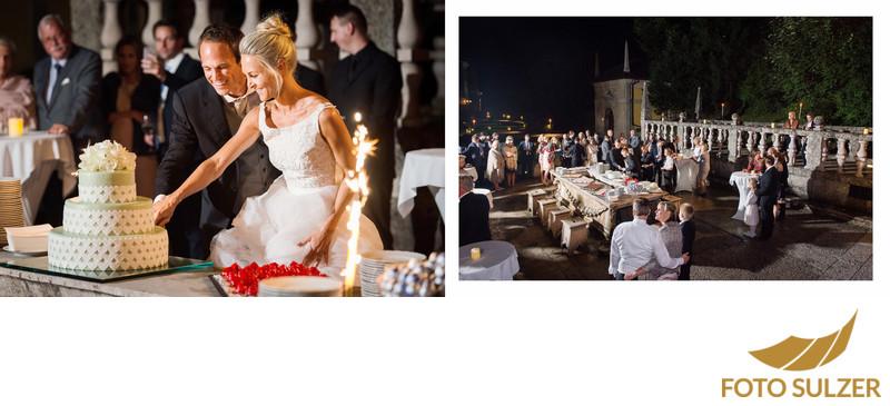 Das anschneiden der Torte am Fürstentisch im Schloss Hellbrunn