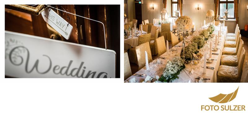 Tischschmuck und Dekoration für Hochzeit im Schloss Hellbrunn