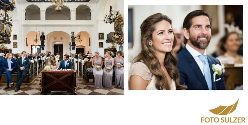 Hochzeitsgesellschaft in der Kirche bei Hochzeit Maria Plain
