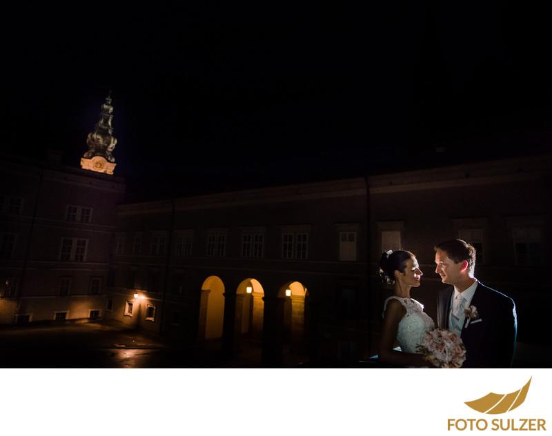 Hochzeit Nachtaufnahme Residenz Salzburg