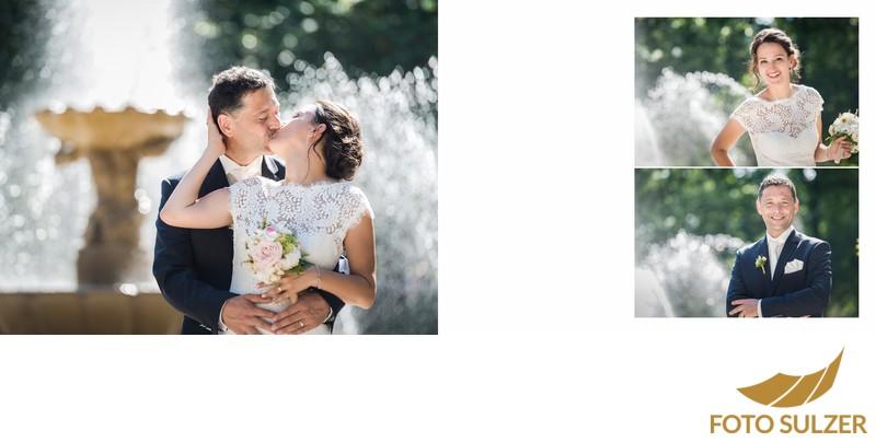 Hochzeit Bad Reichenhall - Kuss beim Springbrunnen