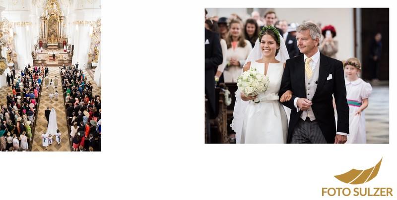 Hochzeit bei München Kloster Schäftlarn - Einzug der Braut