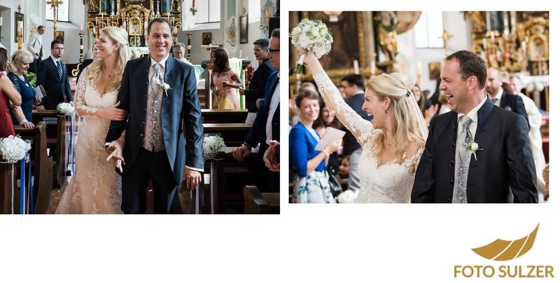 Hochzeit Kirche Saalbach - Auszug des Brautpaares