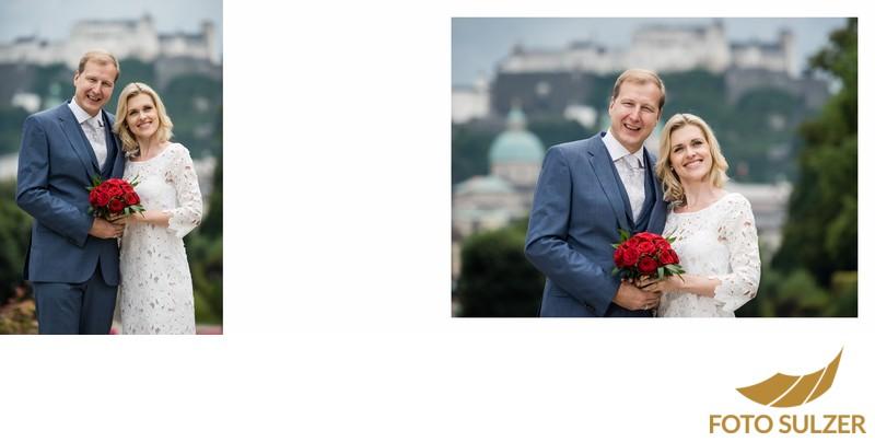 Hochzeit Mirabellgarten - Brautpaar vor Festung Hohensalzburg