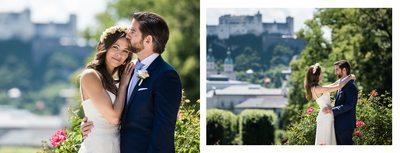 Hochzeit Mirabellgarten - Brautpaar mit Festung