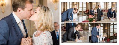Hochzeit Schloss Mirabell - Kuss und Unterschriften