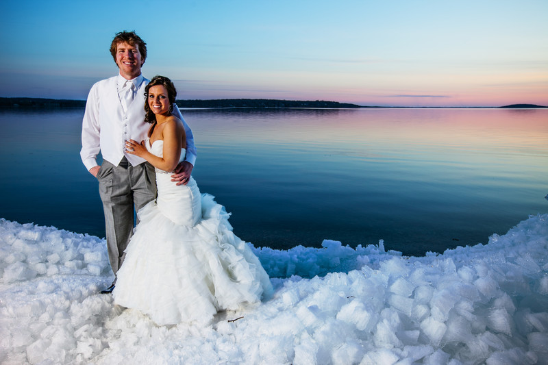 Green Lake Heidel House Sunset Wedding Photo