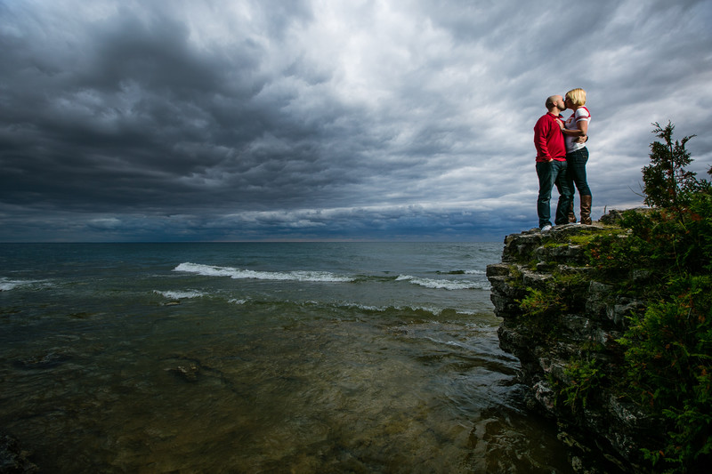Door County Cave Point Engagement Photography