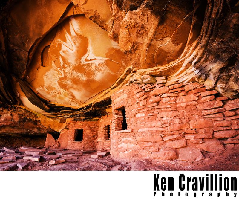 Broken Roof Ruin Utah Canyon Photograph