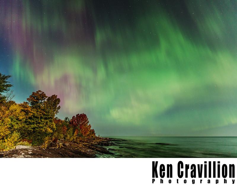 Northern Lights Lake Superior Fall Photo