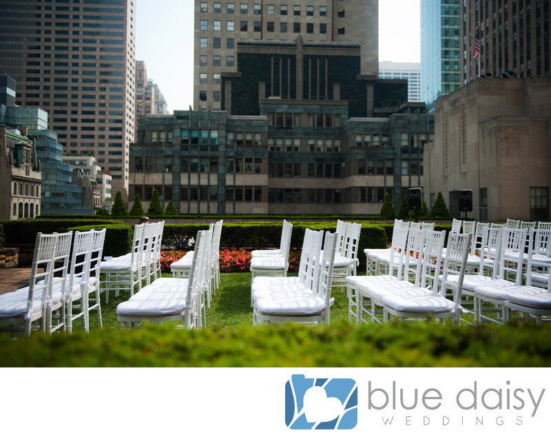 Rockefeller Center rooftop wedding ceremony chairs