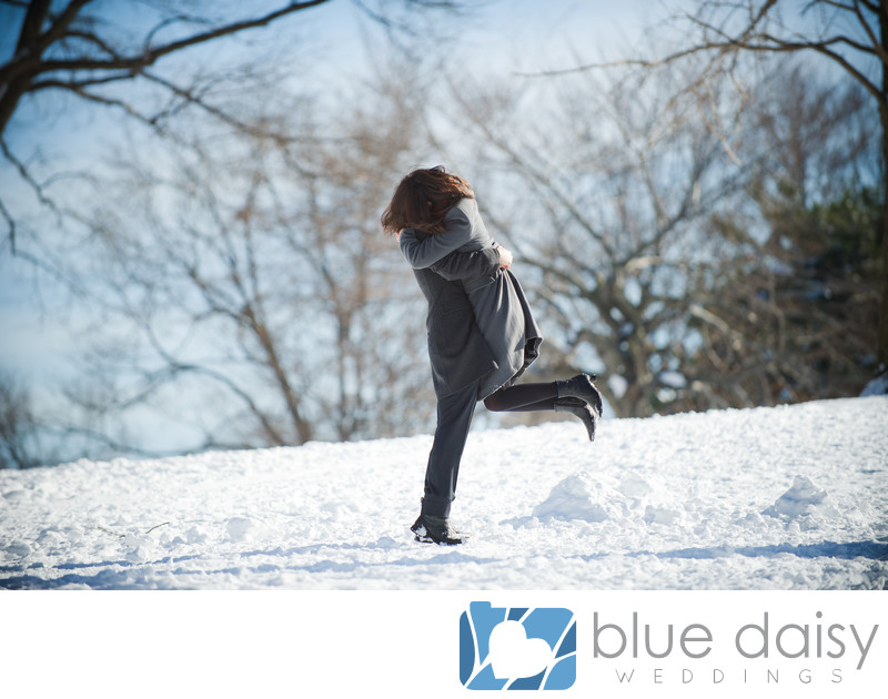Couple in love in winter wonderland Central Park