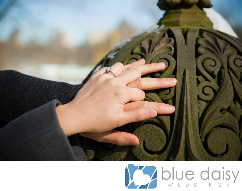 Tiffany diamond engagement ring on bride's hand