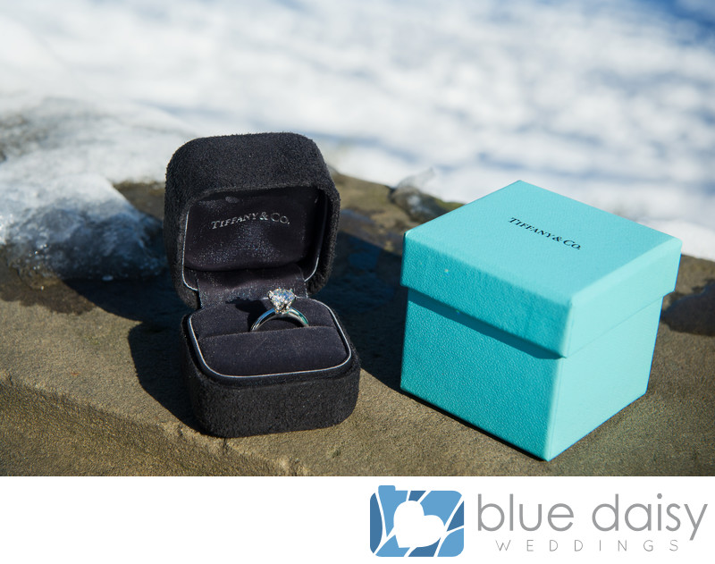 Robin egg blue Tiffany box and diamond engagement ring