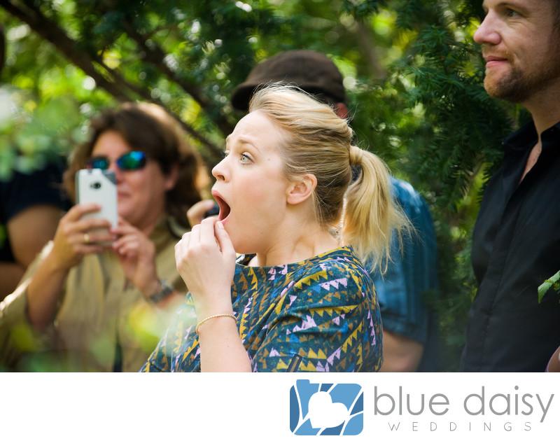 Girlfriend is shocked to see boyfriend proposing