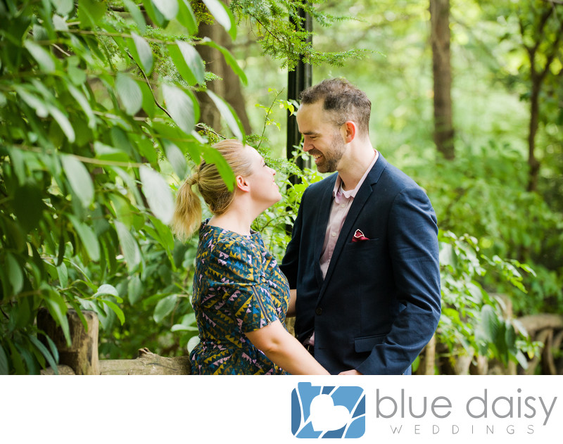 Smiling and laughing couple after surprise proposal