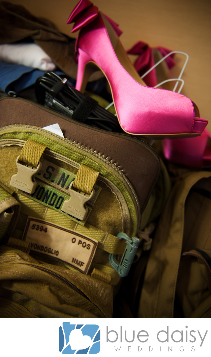 Fuchsia wedding shoes in military backpack
