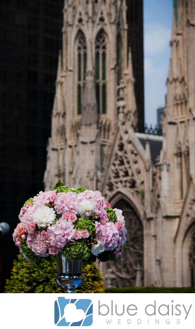 Rooftop garden wedding overlooking St. Patrick Cathedral