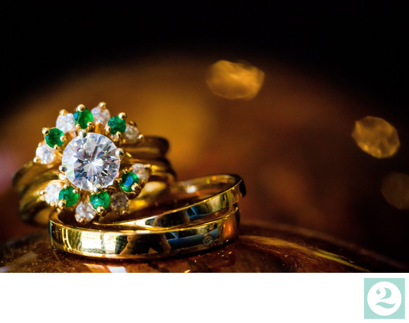 Unique Engagement Ring with Gold, Emeralds and Diamonds