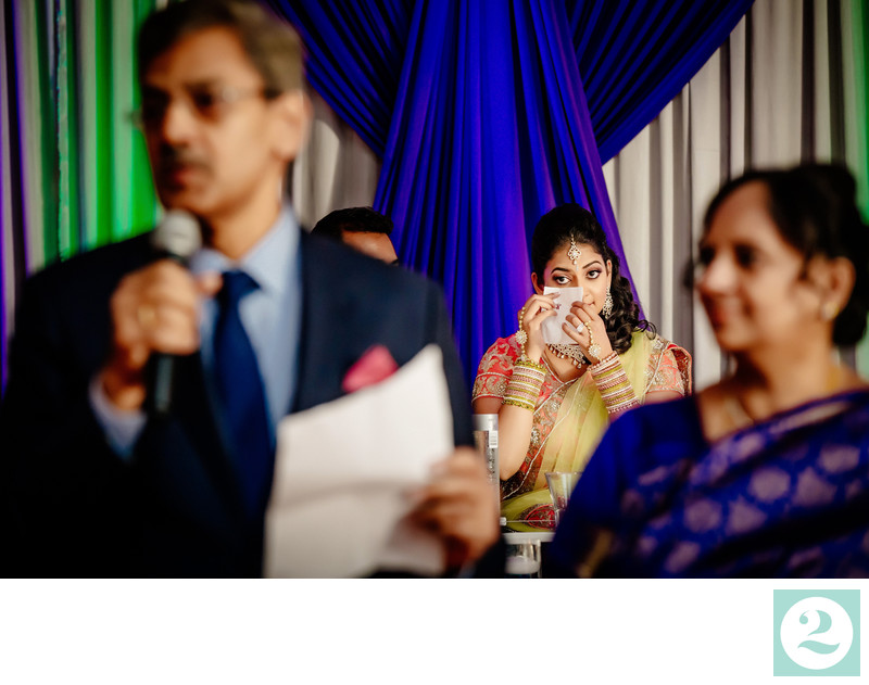 Happy tears at South Asian wedding reception