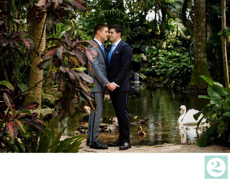 Tommy DiDario and Gio Benitez Wedding Portraits with swan
