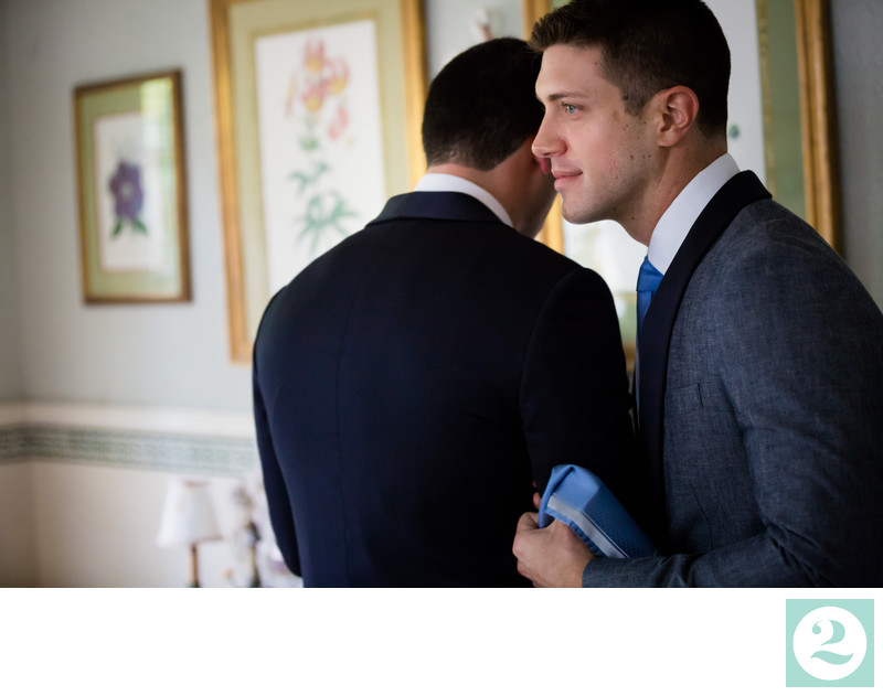 Two Grooms in a Quiet Getting Ready Moment