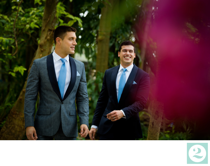 Two grooms in J. Crew Suits