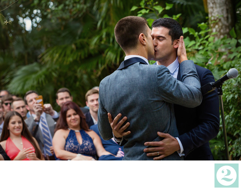 Wedding Kiss at an Outdoor Ceremony