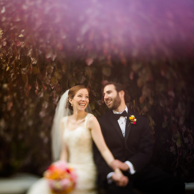 Freelensing wedding portraits at the Lake Forest Library