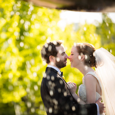 Sunlit Bride and Groom Kiss by Fountain