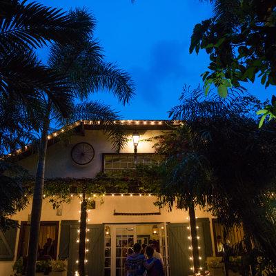 The Walton House Barn Glowing at Night