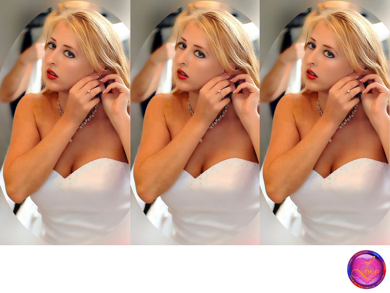 Bride at Mirror Ready for Aisle Wedding Photographer GA