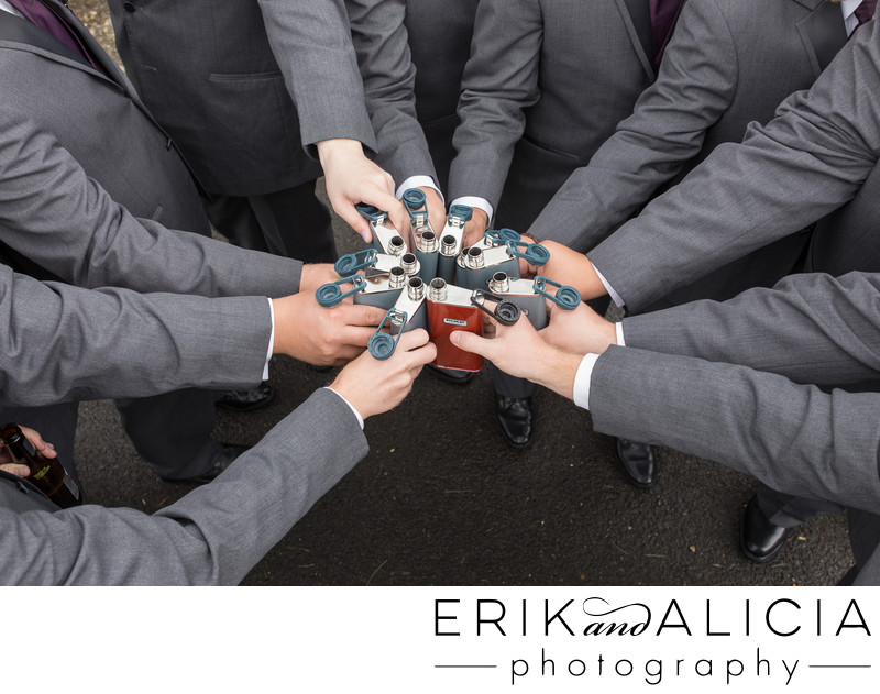 nine groomsmen flasks cheers at beacon hill