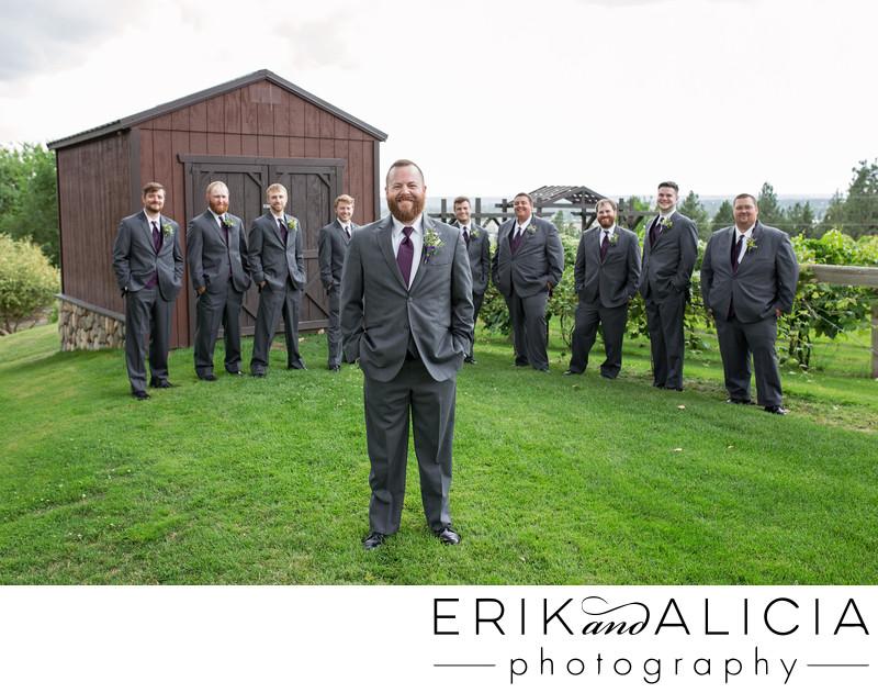 nine groomsmen portrait beacon hill