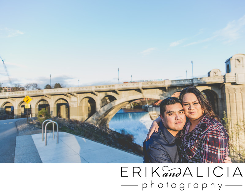 Kendall Yards view Spokane Falls sunset engagement