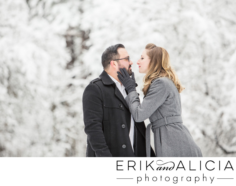 come give me a kiss cold engagement session