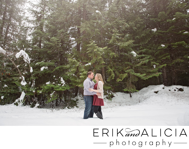 snowy engagement against pine trees