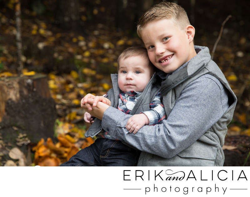 brothers stick together outdoor fall family session