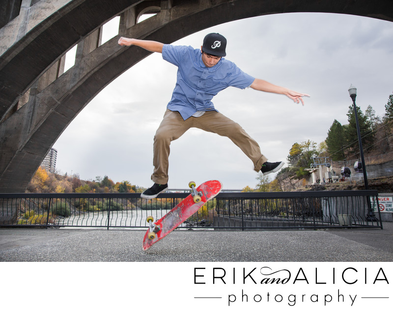 killer skateboard trick under spokane bridge senior