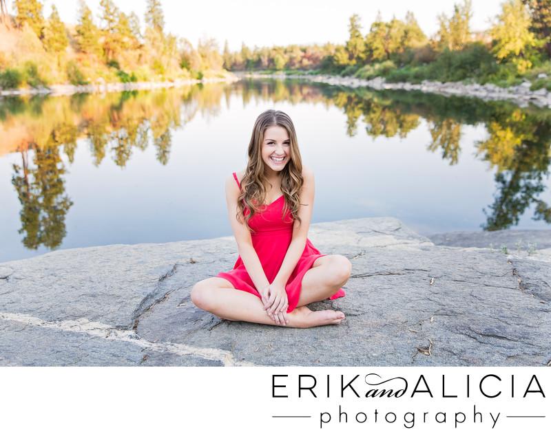 bright pink summer dress senior spokane river rocks
