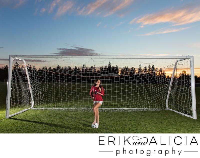 dramatic soccer goal night hs senior photo
