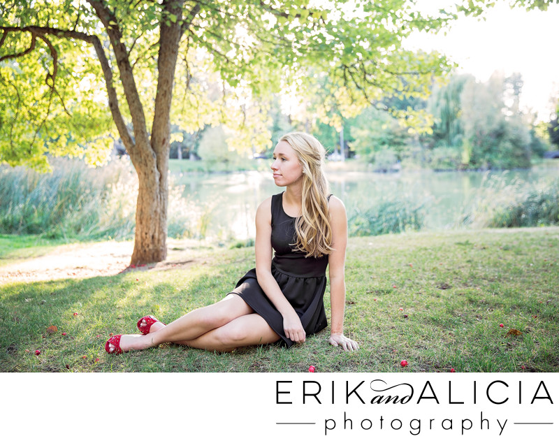 cannon park in a black dress and red heels