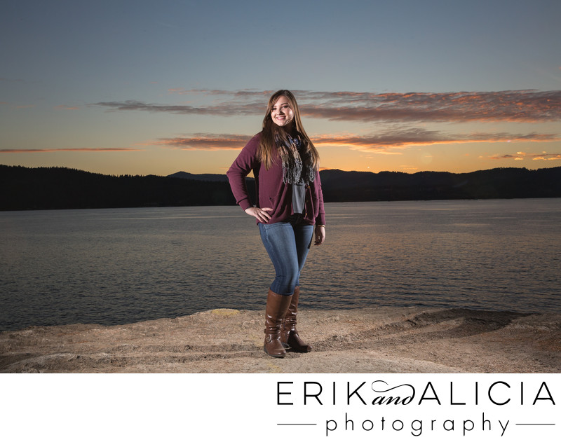 sunset on tubbs hill for senior portraits