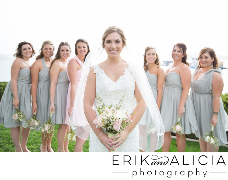 beautiful bridesmaid portrait with gray dresses